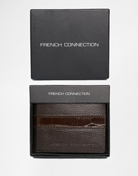 French Connection Leather Wallet With Croc Stripe Brown
