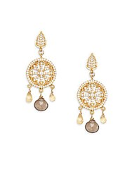 Azaara Citrine And Smoky Topaz Chandelier Earrings Gold Multi
