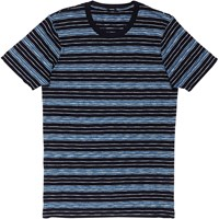 Denham Jeans Signature Triple Slub Stripe T Shirt Navy