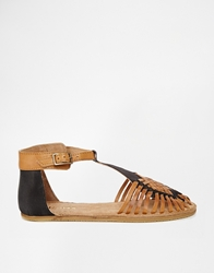 Bronx Woven Tbar Flat Shoes Brownblackleather