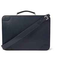 Valextra Costa Pebbled Leather Briefcase Blue