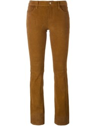 J Brand Bootcut Suede Trousers Nude And Neutrals