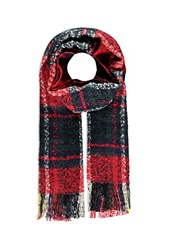 Forever 21 Loop Knit Plaid Scarf Red Navy