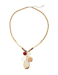 Lord And Taylor Carnelian Mother Of Pearl And Sterling Silver Pendant Necklace Natural