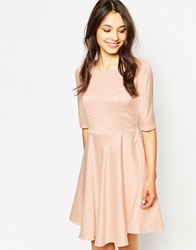 Traffic People Ghost Flower Textured Skater Dress Nude