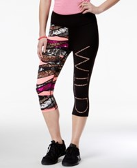 Material Girl Active Juniors' Printed Cropped Leggings Only At Macy's Black