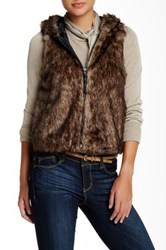 Jolt Short Hooded Faux Fur Vest Juniors Brown