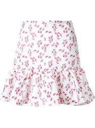 Dresscamp Strawberry Print Peplum Skirt White
