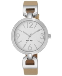 Nine West Women's Natural Leather Strap Watch 36Mm Nw 1779Svnt Silver