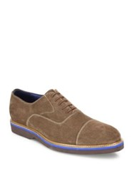 Saks Fifth Avenue Suede Lace Up Dress Shoes Almond