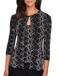 Alex Evenings Plus Patterned Cardigan And Tank Black White