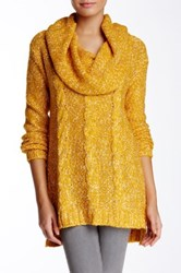 Kensie Cowl Neck Marled Cable Knit Sweater Yellow