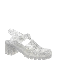 Juju Babe Glitter Heeled Jelly Sandals Clearglitter
