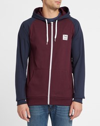 Iriedaily Burgundy And Navy Two Tone College Zipped Hooded Sweatshirt