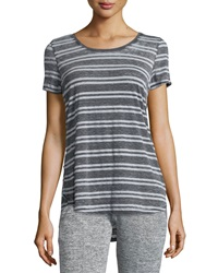 Marc Ny Performance Striped High Low Tee White Heather Gray