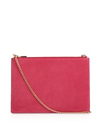 Whistles Rivington Suede Convertible Chain Clutch Pink