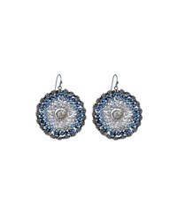 Nakamol Round Blue Crystal Drop Earrings No Color