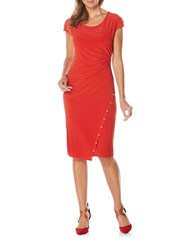 Rafaella Ruched Wrap Dress Haute Red