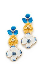 Kenneth Jay Lane Triple Flower Drop Earrings Blue Yellow White
