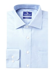 Chester Barrie Broken Chevron Tailored Fit Shirt Blue