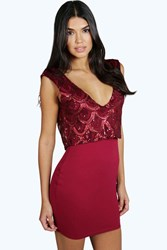 Boohoo Sequin Double Layer Plunge Bodycon Dress Berry
