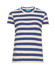M.I.H Jeans Range Short Sleeved Striped Cotton T Shirt Blue White
