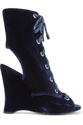 Prada Lace Up Velvet Ankle Boots Navy