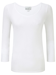 Pure Collection Soft Jersey Scoop Neck Top White