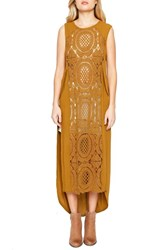 Willow And Clay Women's Sleeveless Crochet Front Tunic Dress