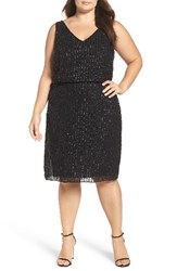 Adrianna Papell Plus Size Women's Beaded Blouson Cocktail Dress