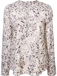 Rebecca Taylor Floral Print Longsleeved Blouse Nude And Neutrals