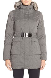 The North Face Women's 'Dunagiri' Waterproof Down Parka With Faux Fur Trim Graphite Grey