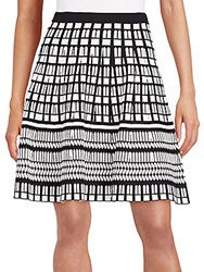 Saks Fifth Avenue Black Geo Print A Line Skirt Black Ivory