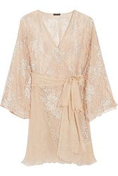 Rosamosario Amori Insostenibili Lace Appliqued Tulle And Silk Georgette Robe Pink