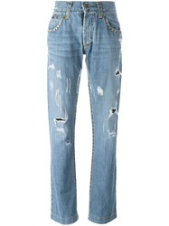 Dolce And Gabbana Vintage Distressed Studded Jeans Blue