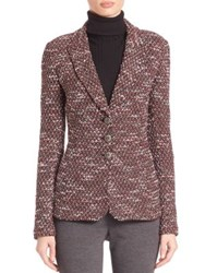 St. John Textured Knit Button Down Jacket Ruby Multi