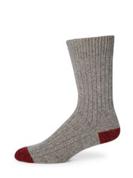 Barbour Houghton Ribbed Stretch Cotton Socks Grey Red