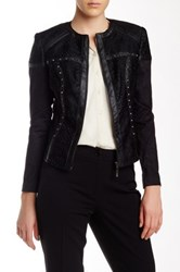 Insight Faux Leather Trim Studded Jacket Black
