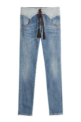 Roberto Cavalli Jeans With Lace Up Front Blue