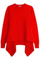 Alexander Mcqueen Cashmere Pullover With Asymmetric Hem Red
