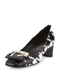 Roger Vivier U Look Houndstooth Buckle Pump Black White