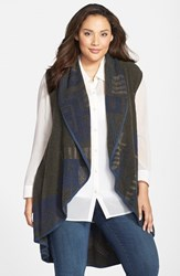 Plus Size Women's Nic Zoe Long Open Front Plush Jacquard Vest