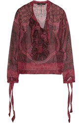 Etro Ruffled Printed Silk Georgette Blouse Red