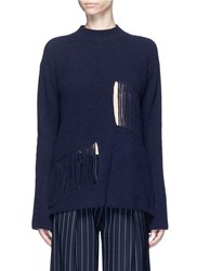 Stella Mccartney Fringed Cutout Panel Cashmere Wool Sweater Blue