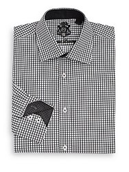 English Laundry Classic Fit Checkered Cotton Dress Shirt Black