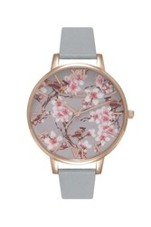 Topshop Olivia Burton Blossom Birds Grey And Rose Gold Painterly Prints Ob15pp09 Watch