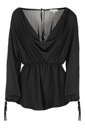 Cowl Front Playsuit By Love Black