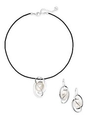 Majorica Ophol 8Mm 12Mm White Coin Pearl And Leather Necklace And Earrings Set Pearl Black