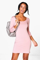 Boohoo Long Sleeve Scoop Neck Bodycon Dress Antique Rose
