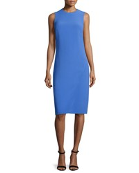 Ralph Lauren Sleeveless Jewel Neck Faux Wrap Dress French Blue